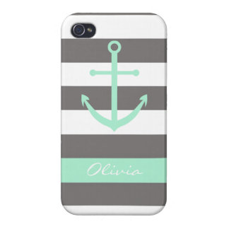 Dark Grey and Mint Anchor Monogram Case iPhone 4/4S Cases
