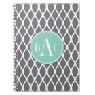 Dark Grey and Mint Monogrammed Barcelona Print Notebook