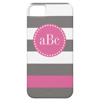 Dark Grey and Pink Monogram Case