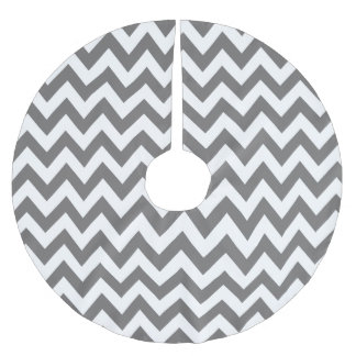 Dark Grey and White Chevron Christmas Tree Skirt Brushed Polyester Tree Skirt
