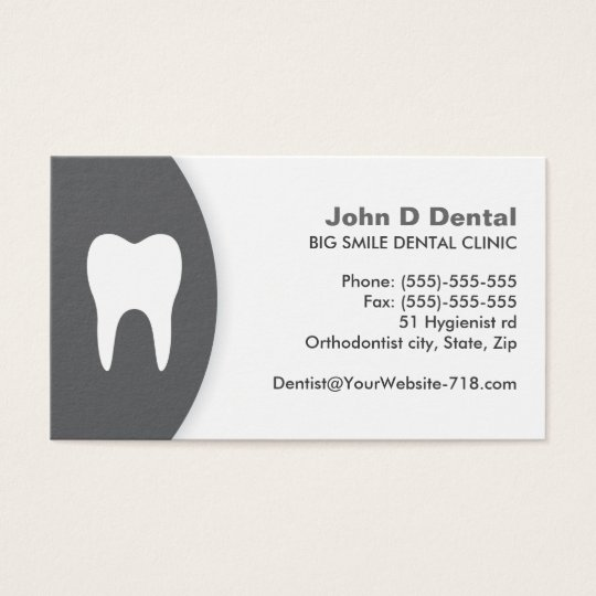 Dark grey and white dental dentist business card