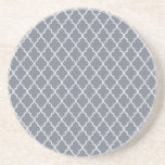 Dark Grey And White Moroccan Trellis Pattern Drink Coasters