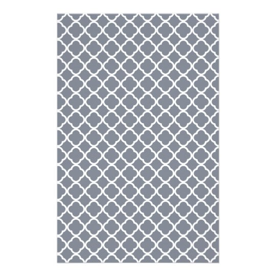 Dark Grey And White Quatrefoil. Moroccan Pattern Stationery