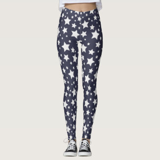 Dark Grey and White Starry Night Leggings