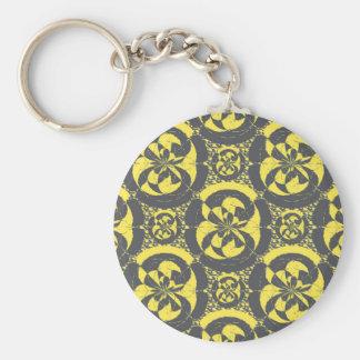 Dark grey and yellow basic round button key ring
