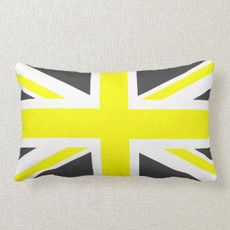 Dark Grey and Yellow Union Jack Lumbar Cushion