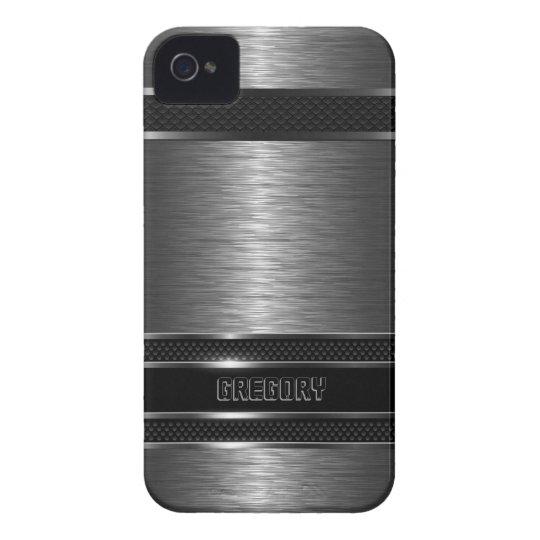 Dark Grey & Black Metallic Brushed Aluminium Look iPhone 4 Case