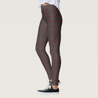 Dark Grey Black Red Small Tartan Plaid Leggings