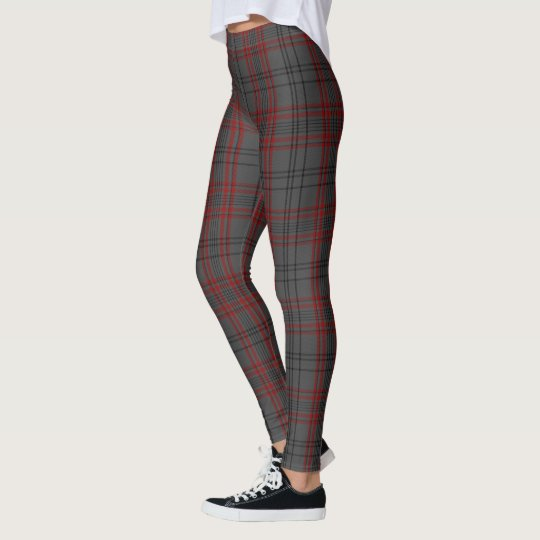 Dark Grey Black Red Tartan Plaid Leggings