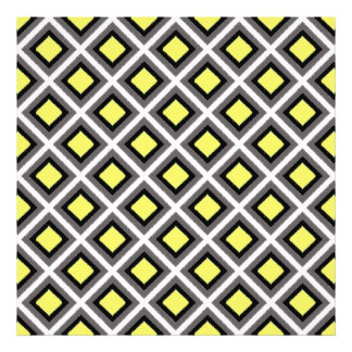 Dark Grey, Black, Yellow Ikat Diamonds Art Photo
