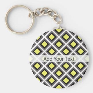 Dark Grey, Black, Yellow Ikat Diamonds by STaylor Key Ring