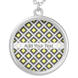 Dark Grey, Black, Yellow Ikat Diamonds by STaylor Silver Plated Necklace