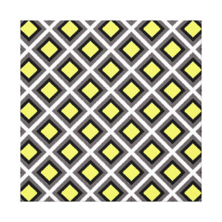 Dark Grey, Black, Yellow Ikat Diamonds Canvas Print