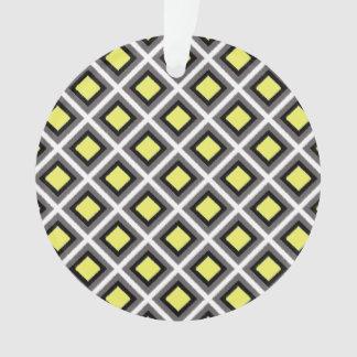 Dark Grey Black Yellow Ikat Diamonds