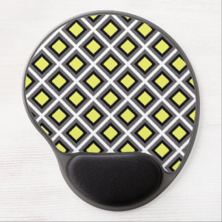 Dark Grey, Black, Yellow Ikat Diamonds Gel Mouse Pad