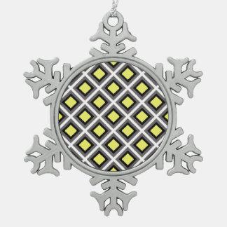 Dark Grey, Black, Yellow Ikat Diamonds Pewter Snowflake Decoration