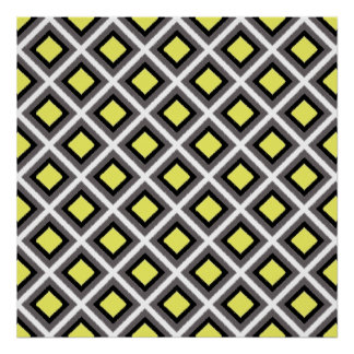 Dark Grey, Black, Yellow Ikat Diamonds Poster
