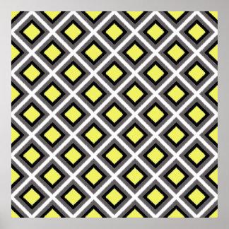 Dark Grey Black Yellow Ikat Diamonds Posters
