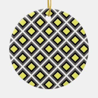 Dark Grey, Black, Yellow Ikat Diamonds Round Ceramic Decoration