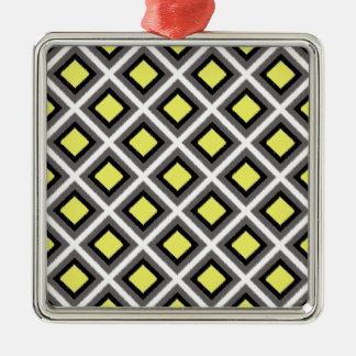 Dark Grey, Black, Yellow Ikat Diamonds Silver-Colored Square Decoration