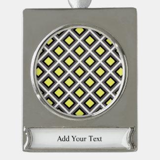 Dark Grey, Black, Yellow Ikat Diamonds Silver Plated Banner Ornament