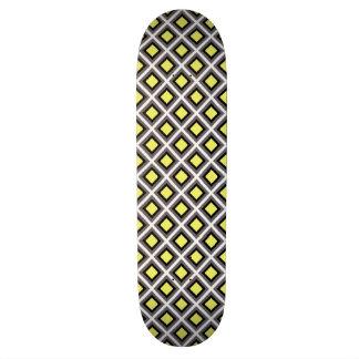 Dark Grey, Black, Yellow Ikat Diamonds 21.6 Cm Old School Skateboard Deck