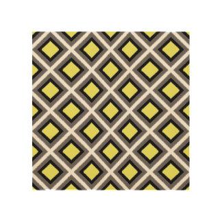 Dark Grey, Black, Yellow Ikat Diamonds Wood Canvases
