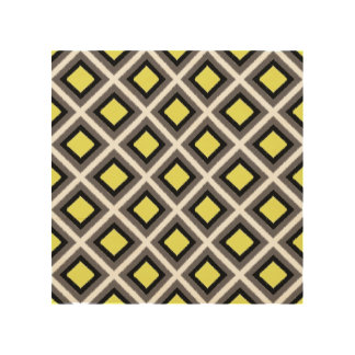 Dark Grey, Black, Yellow Ikat Diamonds Wood Canvases
