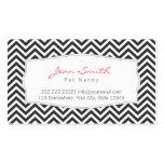 Dark Grey Chevron Stripes Pet Nanny Business Card
