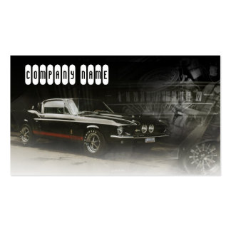 Dark Grey Colored Business Card With A Muscle Car