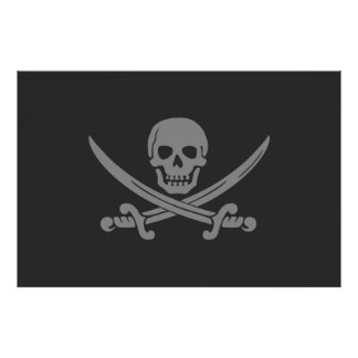 Dark Grey Jolly Roger Pirate Flag Poster