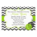 Dark Grey Lime Green Chevron Invitation