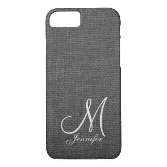 Dark Grey Linen White Monogram iPhone 8/7 Case