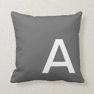 Dark Grey Monogrammed Throw Pillow