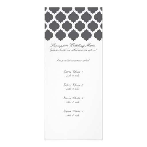 Dark Grey Moroccan Pattern Wedding Menus Invite