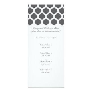 Dark Grey Moroccan Pattern Wedding Menus 4x9.25 Paper Invitation Card
