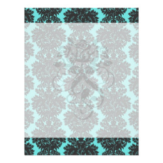 dark grey on aqua blue flourish damask pattern flyers