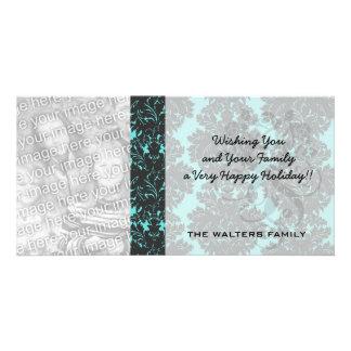dark grey on aqua blue flourish damask photo card