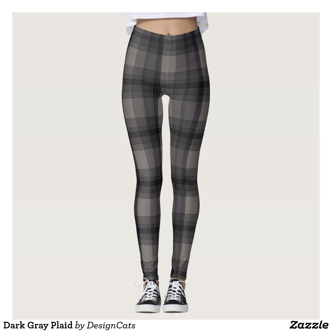 Dark Grey Plaid Leggings