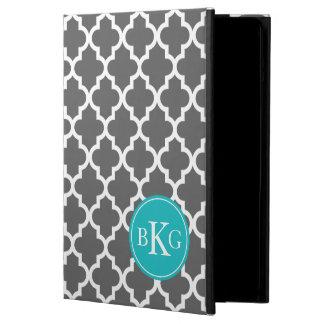 Dark Grey Quatrefoil Custom Monogram iPad Air Cover