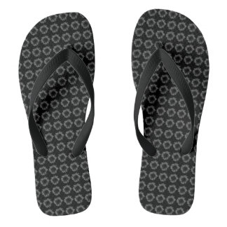 Dark Grey Sunflower Motif on Flip Flops