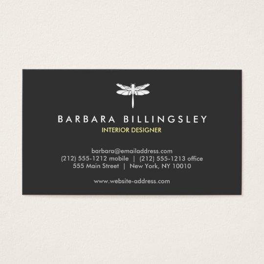 Dark Grey/White Dragonfly Logo Business Card