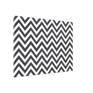 Dark Grey & White zigzag Stretched Canvas Print