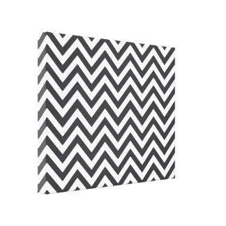 Dark Grey & White Zigzag Pattern Canvas Print