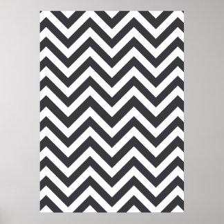 Dark Grey & White zigzag Poster