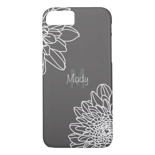 Dark Grey With Large White Flowers And Name iPhone 8/7 Case