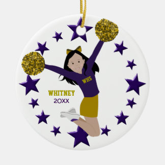 Dark Hair Cheerleader In Purple & Gold Round Ceramic Decoration
