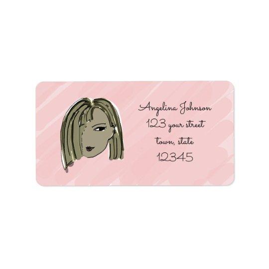 Dark Hair Girl Address Label