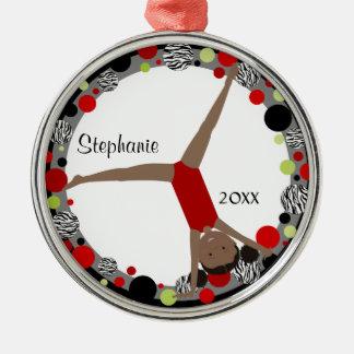 Dark Hair Gymnast in Red, Black & Green Christmas Ornament
