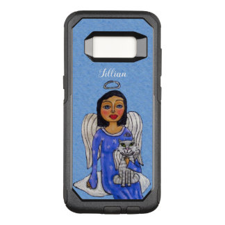 Dark Haired Angel silver Halo Holding Angel Cat OtterBox Commuter Samsung Galaxy S8 Case